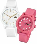 125 Lacoste 2070004 Womens White Pink Two Watches Gift Set Silicone 36mm Sport
