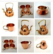 Pure Copper Hammered Tea Kettle Pot Handle For Cooking And Serving Pot With 4 Cup