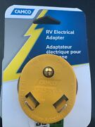Camco 15-amp 3-wire Grounding Single To Single Yellow Basic Standard Adapter