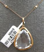 Large 12.53ct Diamond And Aaa White Quartz 14kt Rose Gold Dia By The Yard Pendant