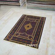 Yilong 5and039x7.5and039 Handknotted Silk Area Rugs Red Roses Floral Indoor Carpet Tj153a