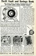 1941 Small Print Ad Of Thrift Vault, Leather Book, Popeye And Lucky Dime Bank