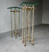 Ilana Goor Hand Wrought Metal And Glass Pedestal Tables
