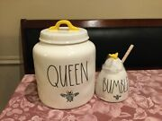 """New Rae Dunn Queen Bee Canister 8"""" Tall X 6"""" Wide And Bumble Honey Pot"""