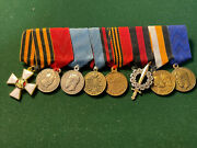 Russian Imperial.miniature Bar Of Order Of St. Georg, 7 Medals On Original Rib.