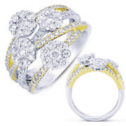 Large 1.84ct Diamond 14kt White And Yellow Gold Multi Flower Criss Cross Love Ring