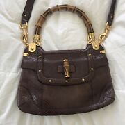 Authentic By Tom Ford Brown Snakeskin Bamboo Shoulder Bag Purse
