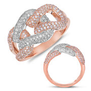 Large .97ct Diamond 14kt White And Rose Gold 3d Classic Triple Love Knot Fun Ring