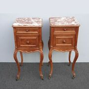 Pair Of Vintage French Louis Xvi Country Brown Marble Nightstands Side Tables