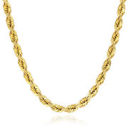 10k Solid Yellow Gold 5mm Diamond Cut Rope Chain 18-28