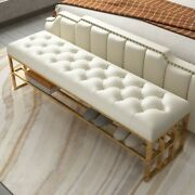 Modern Storage Entryway Bench Beige Faux Leather Upholstered Bench For End Bed