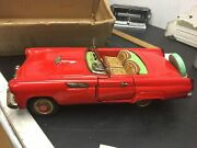 Mint 1960and039s Vintage Ford Thunderbird Red Tin Toy Car Tn Battery Operated W Box