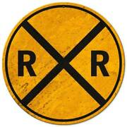 3 Railroad Crossing Heavy Duty Usa Made 14 Round Metal Rr Caution Warnin Sign