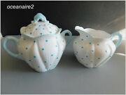 Shelley Turquoise Or Blue Polka Dots Covered Sugar And Creamer