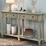 Antique Console Table Sofa Table W/2 Storage Drawers Shelf Living Room Entryway