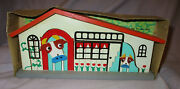 Vintage Barn/pasture Building Toy With Cows - Wood - Japan