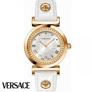 Versace P5q80d001s001 Vanity Lady Rose Gold White Leather Women's Watch New