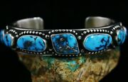 Herman Smith Candelaria Turquoise Double Sided Sterling Silver Row Bracelet
