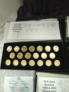 Gold Plater U.s. State Quarters 1999 T0 2003 P And D Certificate Of Authenticity