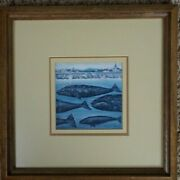 Lowell Herrero Grey Whale Lithograph Or Card, Pod, Coastal Town,10.5x10.5.