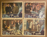 Set Of 4 Original The 7th Victim Lobby Cards 1943 Rko Great Condition