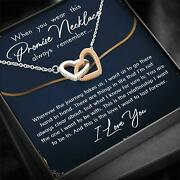 To My Girlfriend Interlocking Hearts Necklace With Message Card For Girlfriend