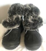 New Bearpaw Becka Snow Duck Boots Leather Faux Fur Trimmed Womenandrsquos Size 9 M