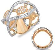 Estate Wide .85ct Diamond 14k White And Rose Gold 3d Multi Leaf Infinity Love Ring