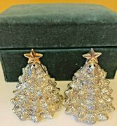 Godinger Silverplated Christmas Tree Salt And Pepper Shaker With Star On Top 2.5h