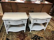 Pair Henry Link White Wicker Nightstands Glass Tops Lexington Furniture Company