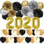 New Years Eve Party Decorations Black Gold Silver Happy New Year Decorations 12