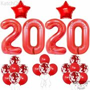 Red 2020 Balloons And Red Confetti Balloons - New Years Eve Party Supplies 2020