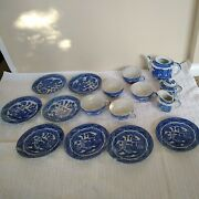 17 Piece Childs Tea Set Miniature Read Made In Japan Blue Willow Antique C1920