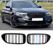 Grille Grill For Bmw 5 Series G30 G31 M5 Gloss Black Double Slat Kidney 2017+