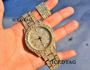 Celebrity Rapper Iced Flooded Hip Hop Gold Plated Simulated Diamond Watch Ring