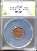 Nd Lincoln Memorial Cent Split Planchet 1.52g Anacs Ms60 Mint Error Bright Red