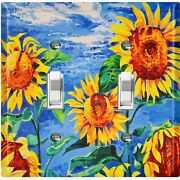 Metal Light Switch Cover Wall Plate For Bedroom Sunflowers Field Sky Pnt001