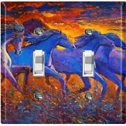 Metal Light Switch Cover Wall Plate For Bedroom Horses Sunset Field Pnt003