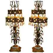 Pair Of Hollywood Regency Italian Iridescent Prism Tiered Metal Table Lamps