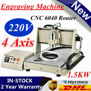 4 Axis Usb 1.5kw 6040 Cnc Router Engraver Milling Machine Vfd Metal Wood Cutter