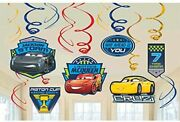 Disney Cars 3 Lighning Mcqueen Party Foil Hanging Swirl Decorations / Spiral Orn