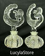 1940and039s Vintage Pressed Imperial Glass Ohio Ornate Perfume Bottle 2 Perfumer 6.5
