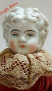 Antique 11 German Hertwig China Head Blonde Low Doll Outfit Original Body 136