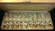 Antique Lot Of 12 Harlequin Floral Reed And Barton Sterling Demitasse Spoon In Box