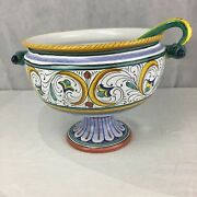 Authentic Italian Deruta Cerimica 1990 Pottery Footed Serving Bowl With Ladle