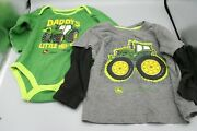 John Deere Graphic Long Sleeve Shirts One Piece Boys Size 18m 9/12m Lot Of 2
