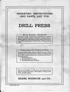 1950 Craftsman 103.23130 King Seeley Drill Press Instructions
