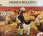 20 Christmas Lighted Puppies French Bulldog Lighted Yard Decor - Set Of 2