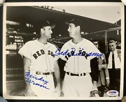 Ted Williams Signed Photo 8x10 Baseball Mickey Vernon Autograph Red Sox Psa/dna