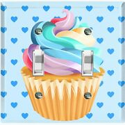 Metal Light Switch Cover Wall Plate For Bedroom Cupcake Heart Baby Blue Cak029